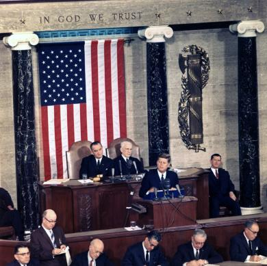 Image of President John F. Kennedy making a speech