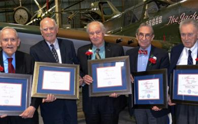 An image of five Eastern District of New York judges who were honored by the Federal Bar Association. They are, from left, Arthur D. Spatt, Jack B. Weinstein, Leonard D. Wexler, I. Leo Glasser, and Thomas C. Platt Jr.