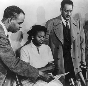 Roy Wilkins in press conference with Autherine Lucy and Thurgood Marshall.
