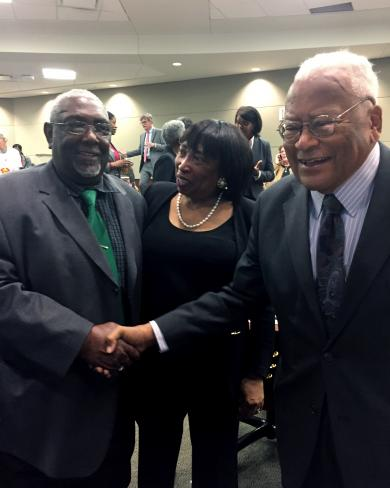 Judge Bernice B. Donald, U.S. Court of Appeals for the Sixth Circuit; James Lawson, a prominent Memphis figure, and a former sanitation worker from Memphis, talk after the federal court event in Memphis.