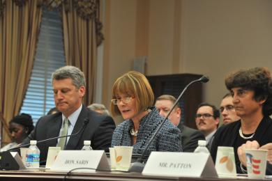 Judge Irene Keeley, (photo center) with U.S. Sentencing Commission chair, Judge Patti Saris,(photo right) testified before a House Task Force on the Judiciary's lack of resources to handle an increased caseload.