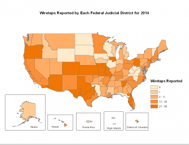 Map of wiretaps reported by each Federal Judicial District for 2014.