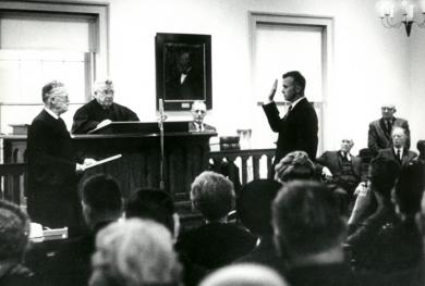 Judge Richard Mills is sworn in as judge in Illinois.