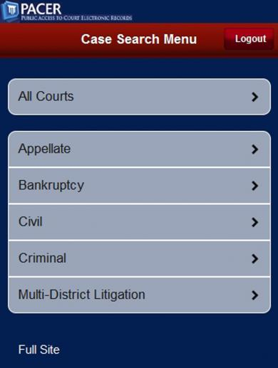 Created in 2011, the mobile PACER case locator lets users search for court records on the go.