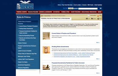 The website of the Federal Rules of Practice and Procedure