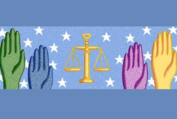 Hands in various colors raised around the scales of justice.