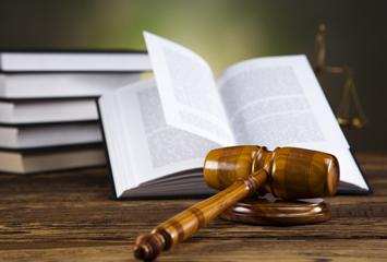 image of gavel on a table in front of a set of books