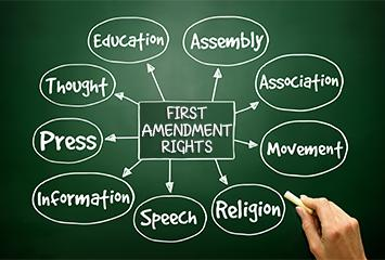 Your first amendment rights as a citizen of the United States are here.