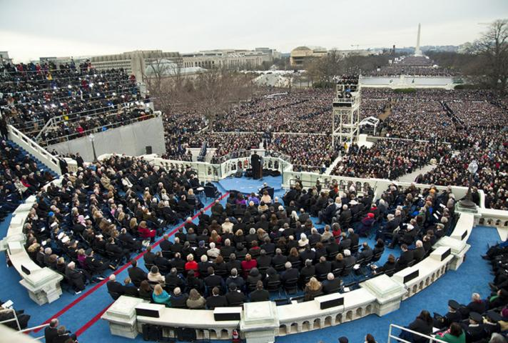From behind the stage and dignitary seating area, the crowds attending the Inauguration, estimated at 800,000 to 1 million, can be seen.