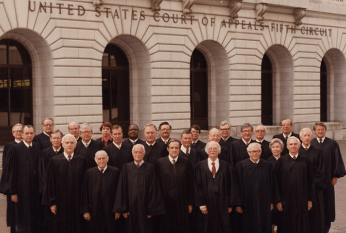 Image: Phyllis Kravitch (upper center) and Carolyn Dineen King (upper right) were the first women on the Fifth Circuit Court of Appeals in this 1979 photo. King later served as the court's chief judge.