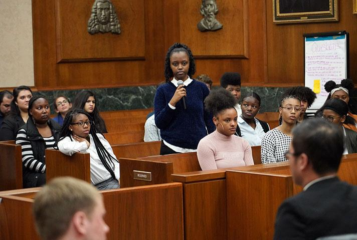 Students participating in a civics program at the federal courthouse in D.C.