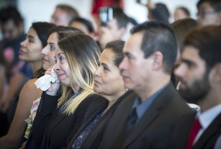 New citizens during a naturalization ceremony at the Air Force Academy.