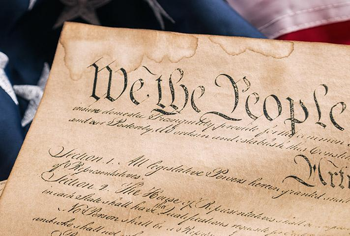 Image of flag and the Constitution