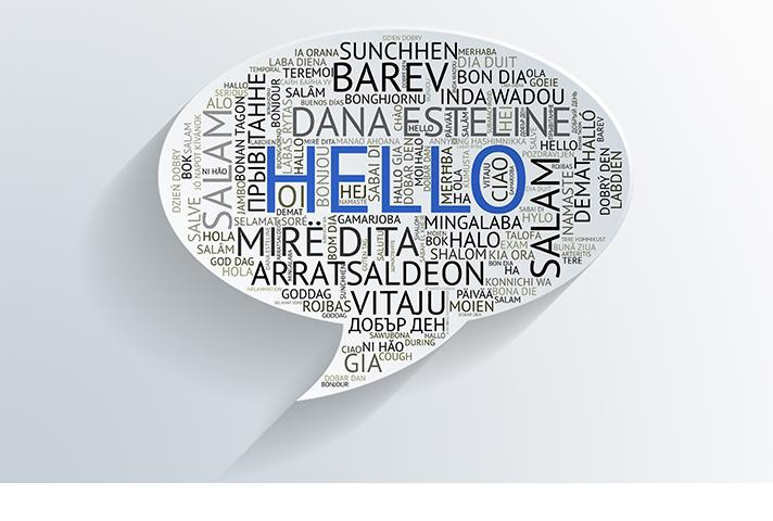 The word hello displayed in multiple languages.