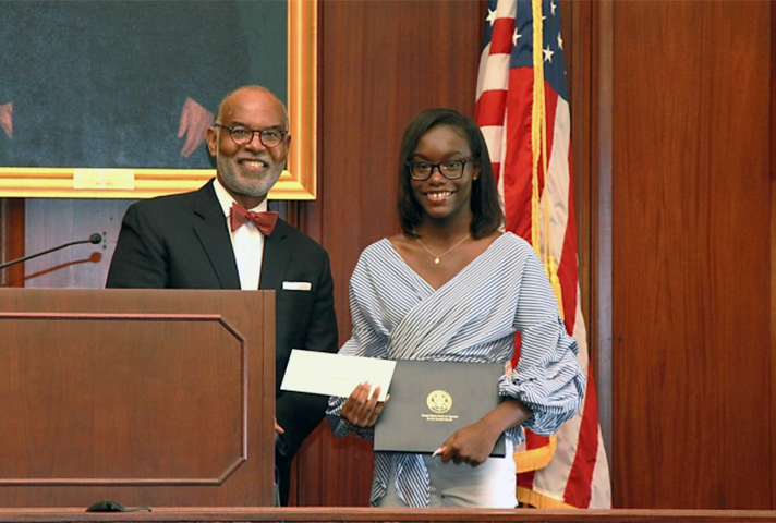 Fourth Circuit Essay contest winner with Chief Judge Gregory.