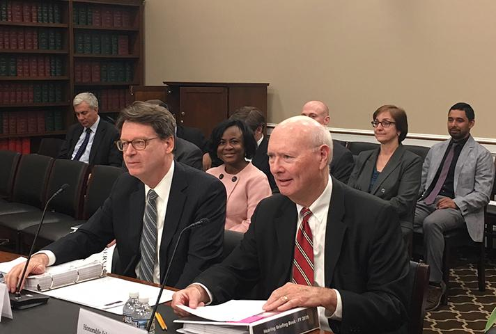 Director James Duff and Judge John W. Lungstrum at the Congressional hearing on the Judiciary's fiscal year 2019 budget request.
