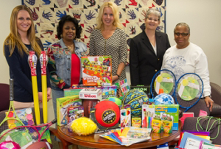 Over $500 worth of toys and school supplies were donated by the district to the East St. Louis Project Success program.