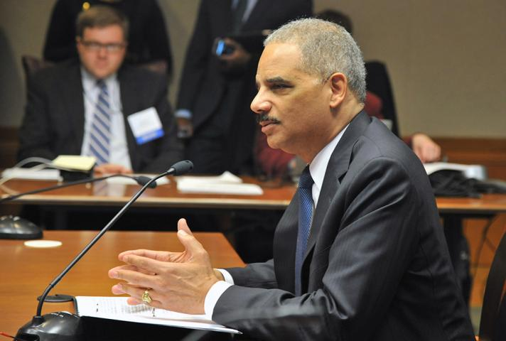 Attorney General Eric Holder appeared before the U.S. Sentencing Commission to endorse a proposed change to the Federal Sentencing Guidelines.
