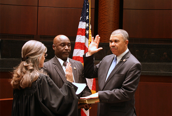 Chief Judge Catherine D. Perry, of the Eastern District of Missouri, swears in U.S. Representative Wm. Lacy Clay (D-MO).