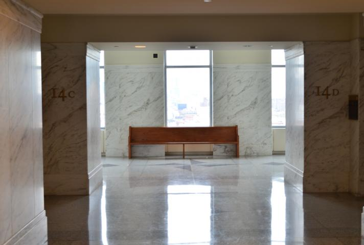 Hallways were empty in a typically busy Moynihan Courthouse, the venue for much of the nation's major financial litigation.