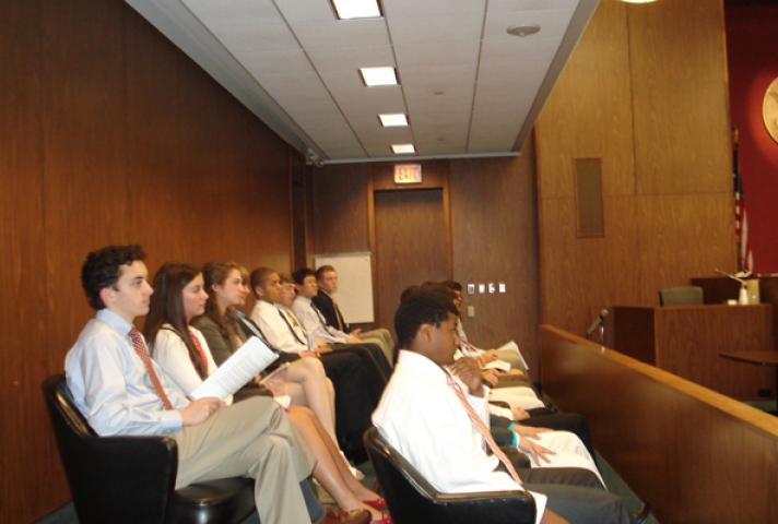 Students in Philadelphia courtroom serve as jurors in a realistic court hearing