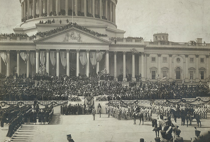 Chief Justice Melville W. Fuller administers the oath of office to Theodore Roosevelt during his second swearing-in, in 1905.