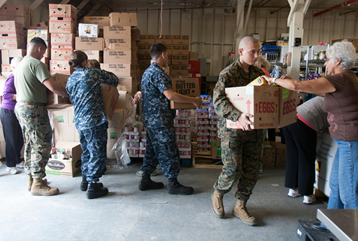 The Southern District of California donated food to the Miramar Food Locker, an organization that provides assistance to military families. Photo: Lance Cpl. Rebecca Eller, DVIDs