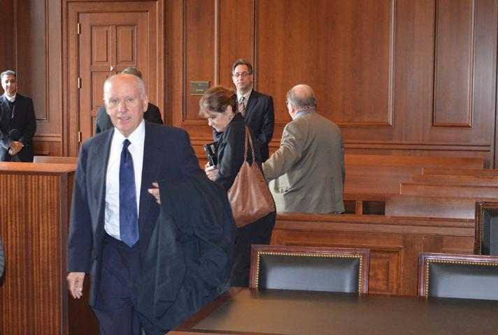 Due to the inoperable elevators, Judge Castel enters the courtroom through the main door instead of the Judges' separate entrance.