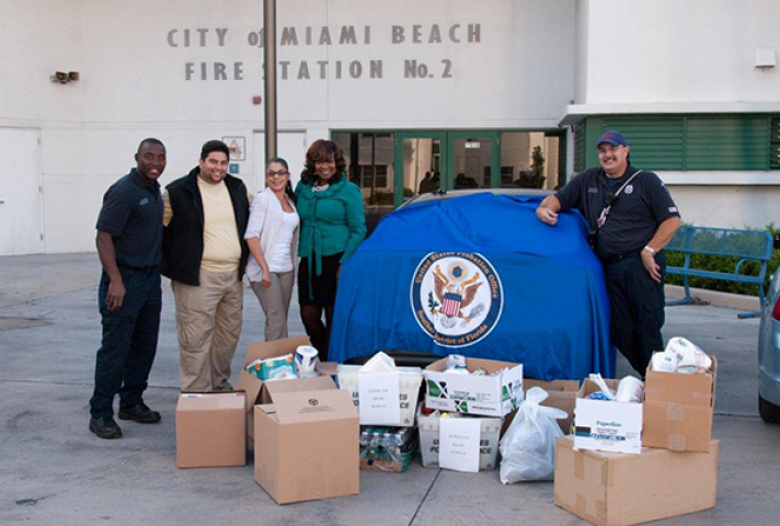 The Southern District of Florida Probation Office collected donations for Miami Fire Rescue's efforts to help victims of Hurricane Sandy.