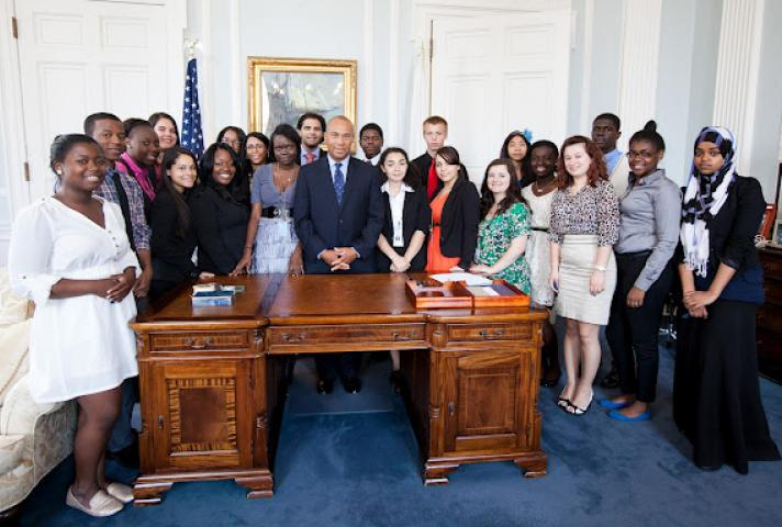 Nelson and Lindsay Fellows visit with Massachusetts Governor Deval Patrick.