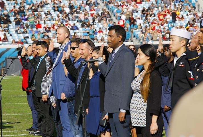Newest Americans Wow Fans at Stadium Naturalization   United