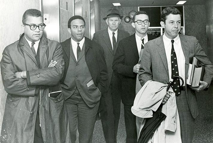 On April 4, civil rights leaders James Lawson and Andrew Young, left, enter a federal courtroom with their lawyers.On April 4, civil rights leaders James Lawson and Andrew Young, left, enter a federal courtroom with their lawyers.