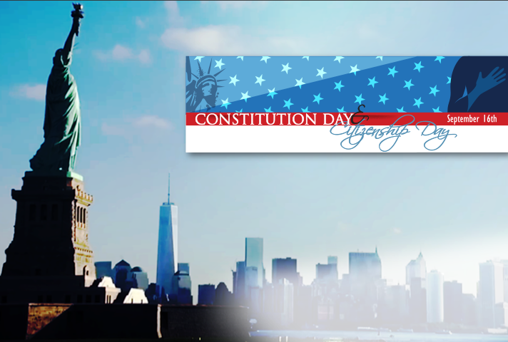 Constitution Day promo with NYC sky line in background