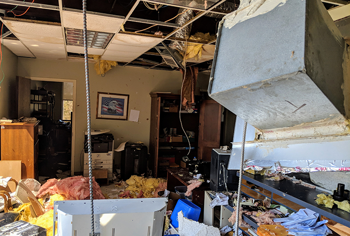 The Panama City clerk's office was uninhabitable after the building's roof caved in during Hurricane Michael.