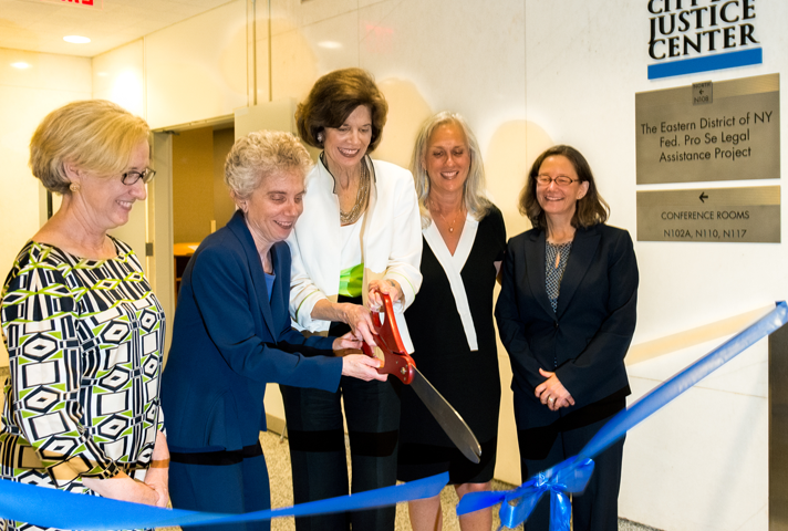 Taking part in a recent ribbon cutting in Brooklyn are, from left, Lynn Kelly, executive director of the City Bar Justice Center; Debra L. Raskin, New York City Bar Association president; Chief Judge Carol B. Amon, Eastern District of New York; Magistrate