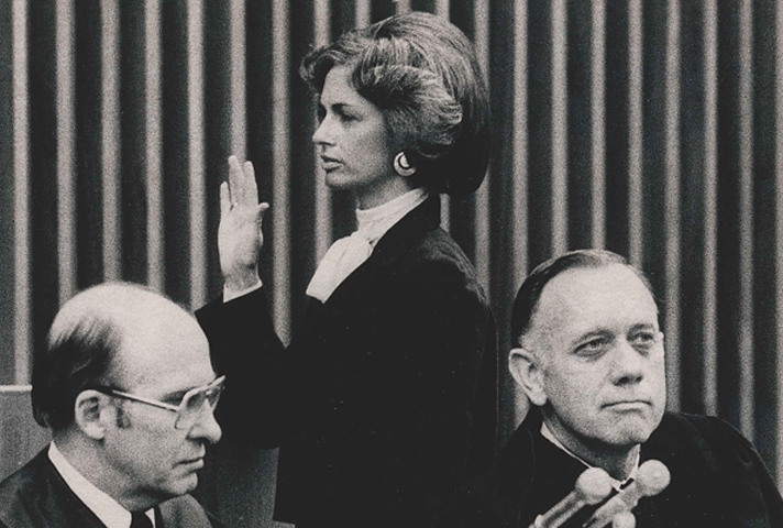 Image of Judge Stephanie Seymour being sworn in to the 10th Circuit Court of Appeals in 1979.