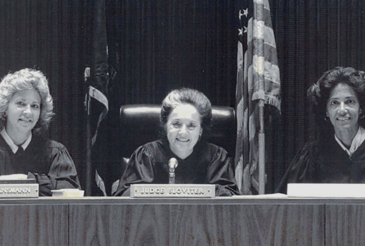 Image: In 1990, Judges Carol Los Mansmann (left to right), Dolores K. Sloviter, and Anne E. Thompson serve as the first all-female appellate panel of the Third Circuit Court of Appeals.