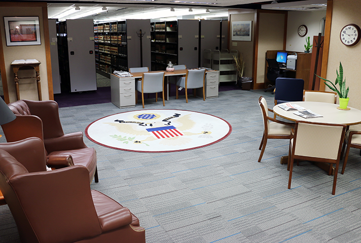 Image: A Sixth Circuit library in Cincinnati occupied a much smaller space after moving into a clerk's office file storage area that no longer was needed.