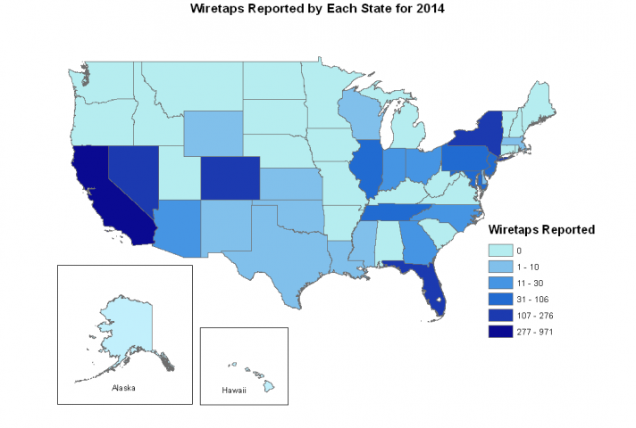 Map of wiretaps reported by each state for 2014.