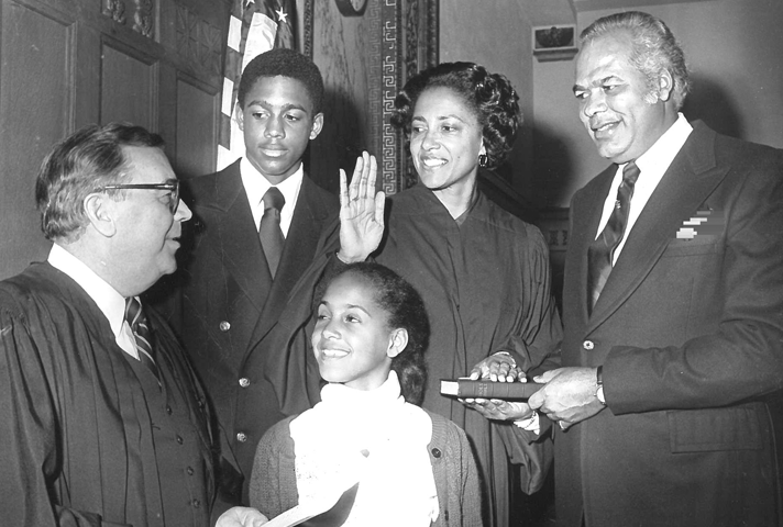 Image: In 1979, with her family at her side, Judge Anne E. Thompson is sworn in as a federal judge in the District of New Jersey.