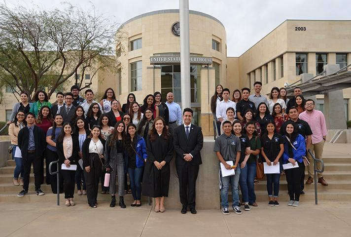 U.S. Magistrate Judge Ruth Bermudez Montenegro and her law clerk Devin H. Mirchi guide students in practicing civil discourse skills as jurors at the courthouse in El Centro, California.
