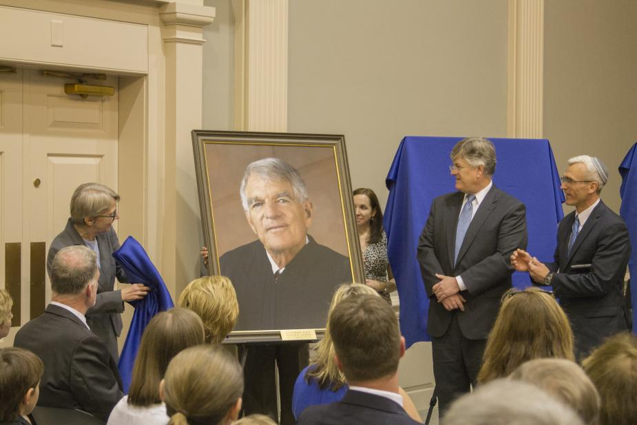 Portrait of retired Magistrate Judge Arthur H. Latimer is presented by Karen L. Clute, Partner at Wiggin and Dana LLP, and James Ross Smart Esq. and Patrick A. Klingman Esq., Co-Chairs of the Federal Practice Section at the Connecticut Bar Association.