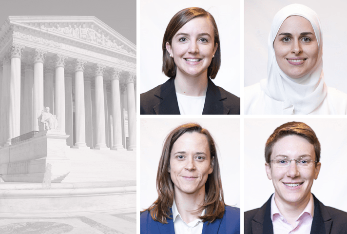 The 2020-2021 Supreme Court fellows, clockwise from top left, Allison A. Bruff, Sarah Alsaden, Hannah M. Solomon-Strauss, and Kathleen Foley. Images are from the collection of the Supreme Court of the United States.