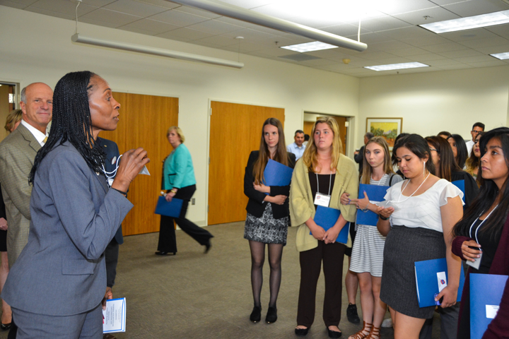 Bankruptcy Judge Erithe Smith speaks to students at a Law Day event in Santa Ana, California.