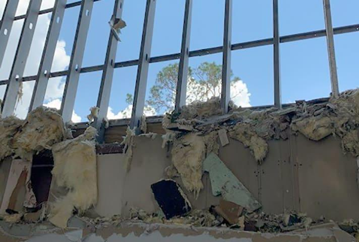 Fierce winds from Hurricane Laura ripped away sections of wall in the federal courthouse in Lake Charles, Louisiana.