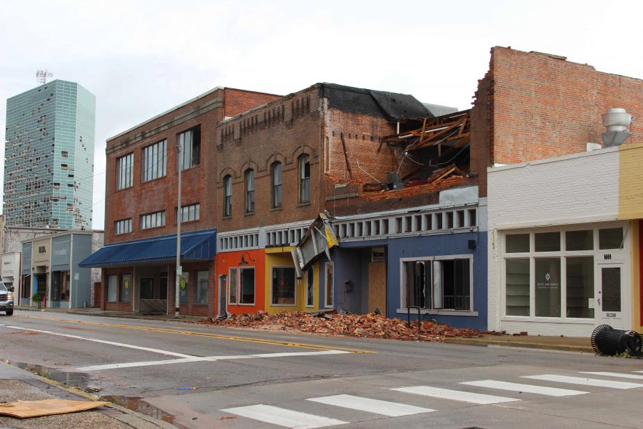Damage from Hurricane Laura affected the greater Lake Charles area, damaging many buildings downtown (photo courtesy of the City of Lake Charles).