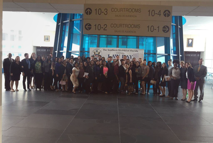 Participants at a Law Day event in Miami gather in the lobby of the Wilkie D. Ferguson Jr. United States Courthouse.