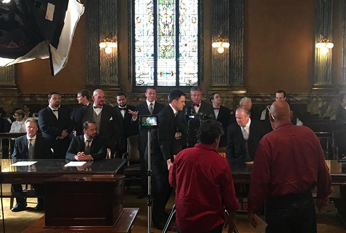 Filming of the Indiana courts video.