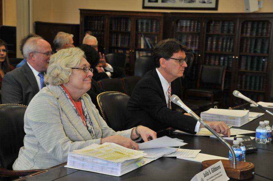 Judge Julia Gibbons and AO Director James Duff at the House hearing on the Judiciary's FY 2016 Appropriations