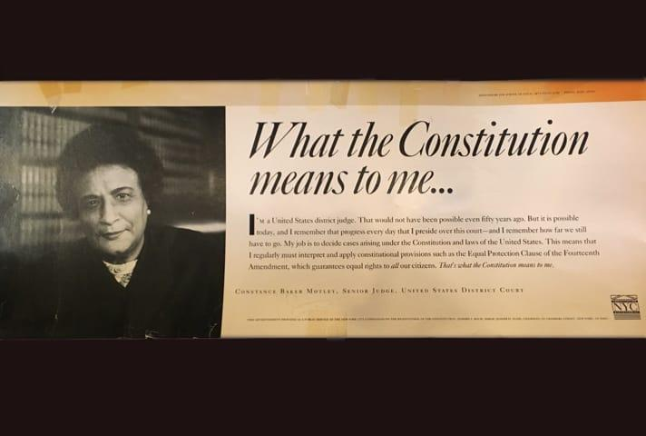 Image of the subway sign that featured Constance Baker Motley that honored the bicentennial of the Constitution.